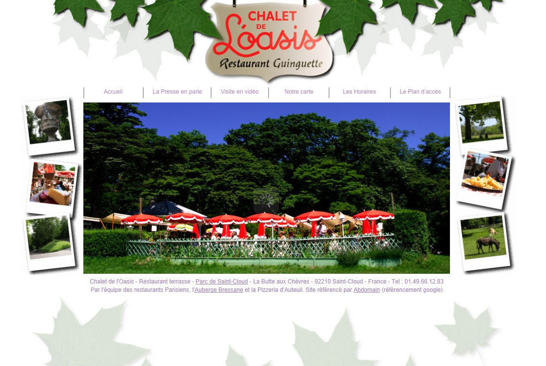 Chalet de l'Oasis - un restaurant au coeur du parc de Saint Cloud