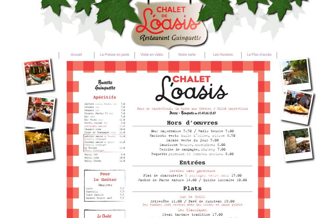 Chalet de l'Oasis -  la page menu