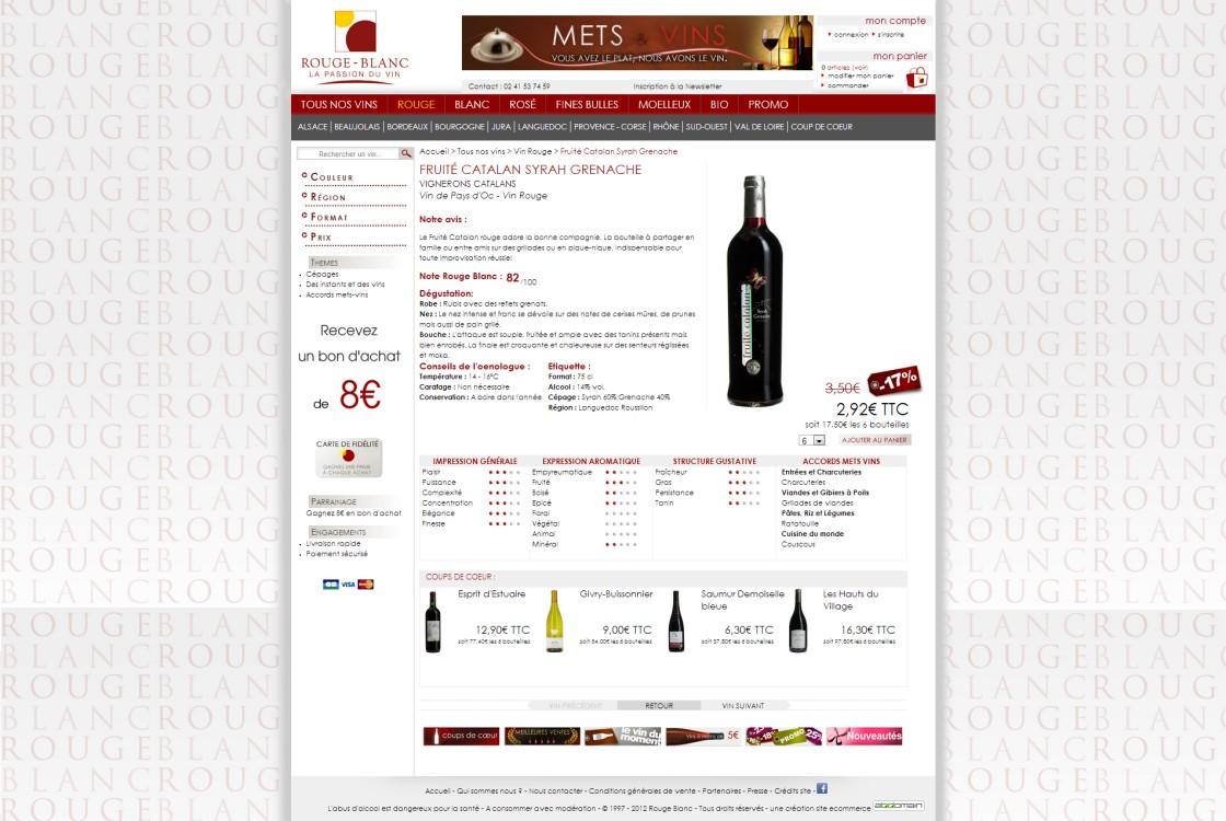 Rouge Blanc - page produit: avec mise en valeur d'un vin.