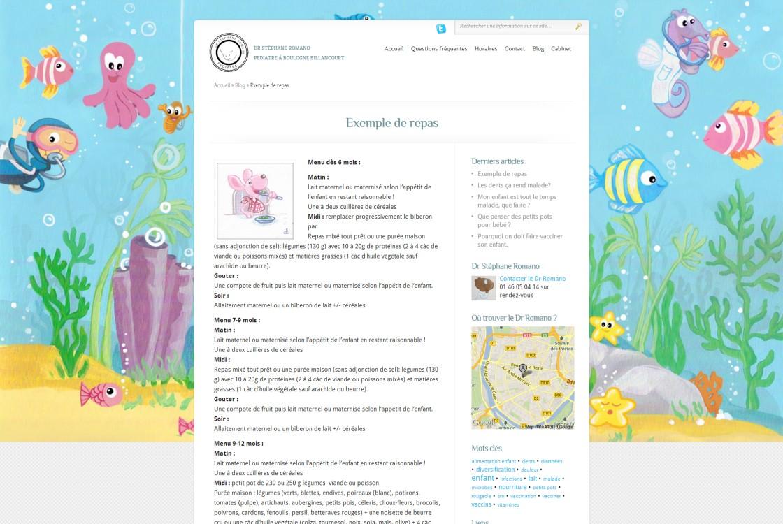 Romano - Un exemple d'un article pour le Blog avec les mots clés à droite