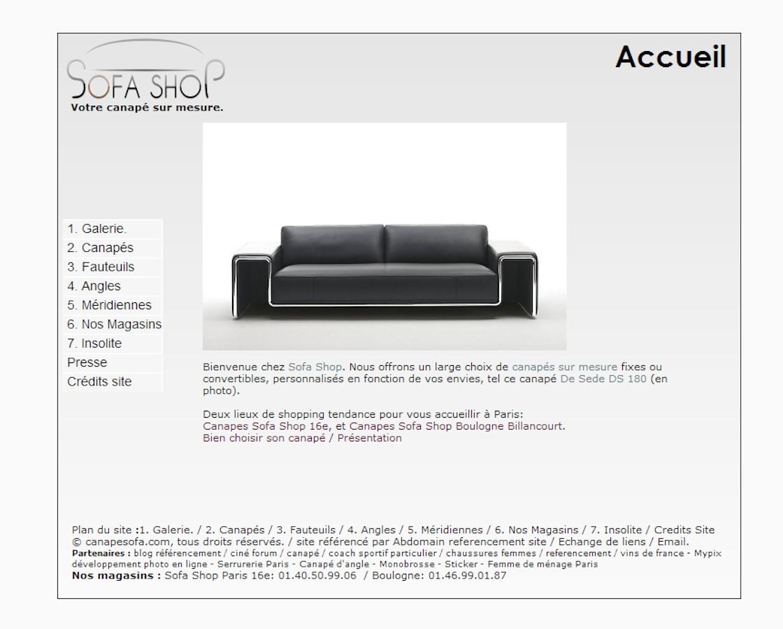 Sofashop - Page d'accueil du site