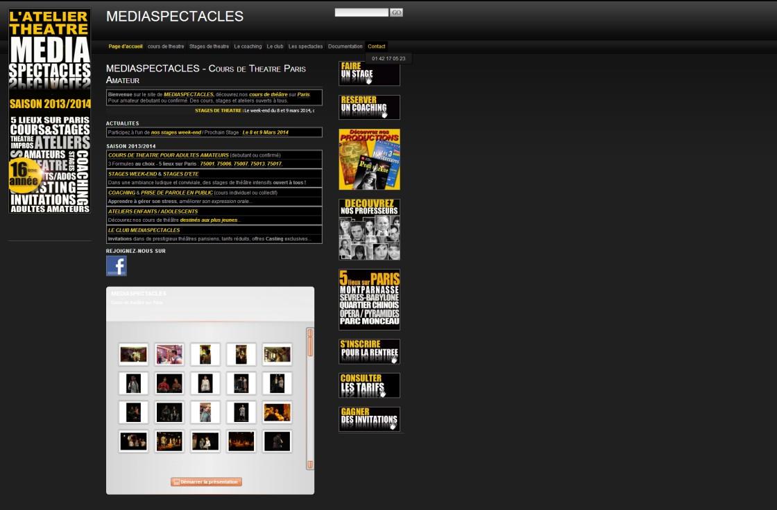 Mediaspectacles - Page d'accueil du site