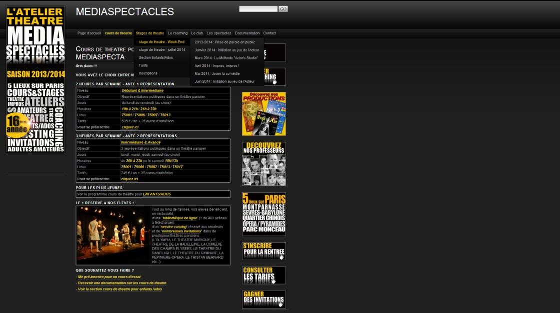 Mediaspectacles- Page cours de theatre