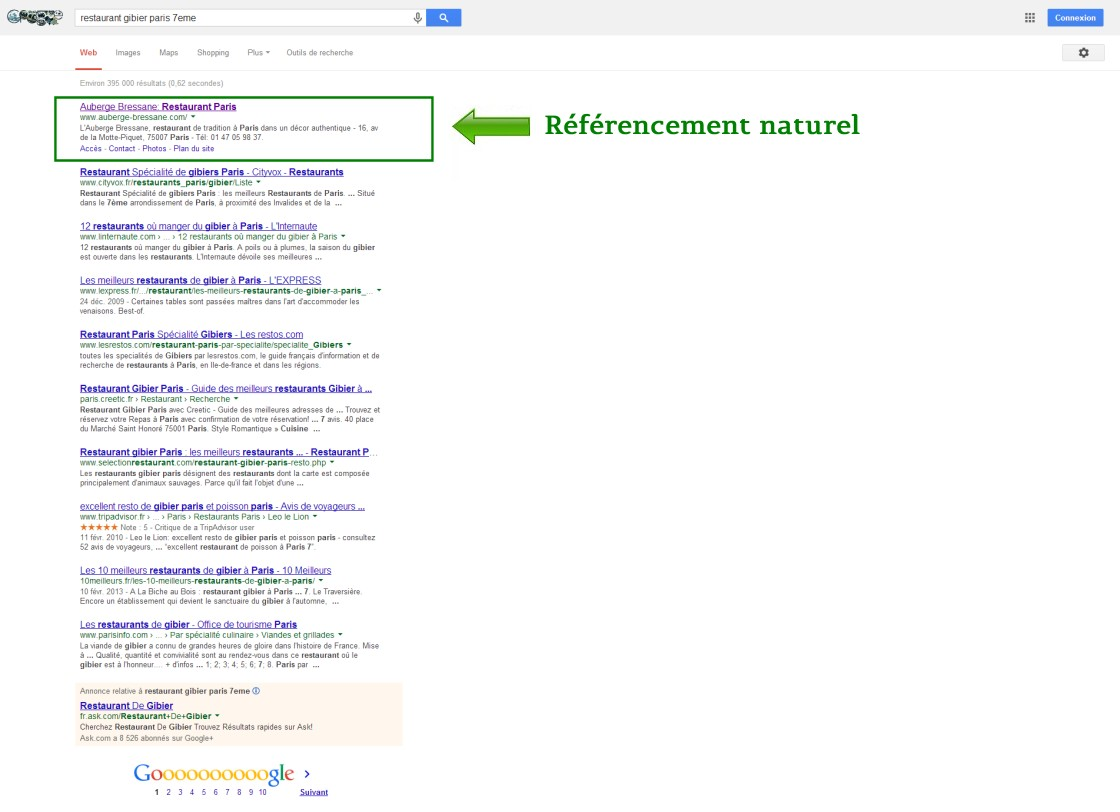 Exemple of natural seo result on Google