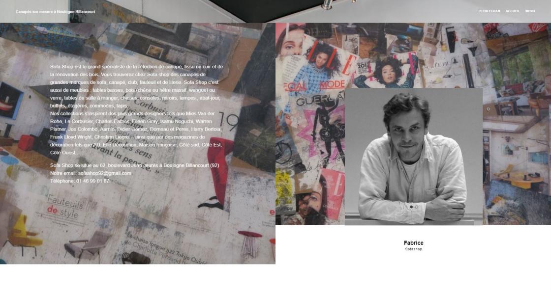 Sofashop - La page du magasin d'Auteuil